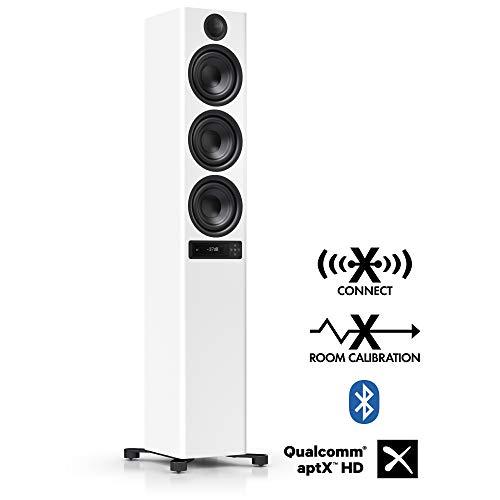 Nubert nuPro X-6000 RC Standlautsprecher | Bluetooth Lautsprecher aptX | Lautsprecher Verbindung kabellos High Res 192 kHz/24 bit | aktive Standbox mit 3.5 Wege | High End Lautsprecher Weiß | 1 Stück