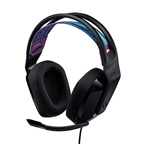 Logitech G335 Kabelgebundenes Gaming-Headset, Flip-to-Mute-Mikrofon, 3,5 mm Audioanschluss, Memory-Schaum-Ohrpolster, Leicht, Kompatibel mit PC, PlayStation, Xbox, Nintendo Switch - Schwarz