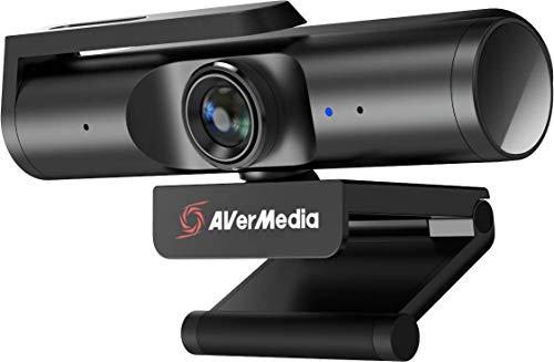 AVerMedia Live Streamer CAM 513, Ultraweitwinkel 4K Webcam mit Webcam-Abdeckung, integriertes Mikrofon, Plug & Play für Gaming, Streaming, Video Anruf- Schwarz