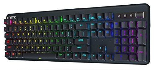 Fnatic Streak Pro Gaming mechanische E-Sports Tastatur (Cherry MX Blue-Tasten, Multi-Color RGB Beleuchtung, Ergonomische Handgelenkstütze, Programmierbar) DE-Layout