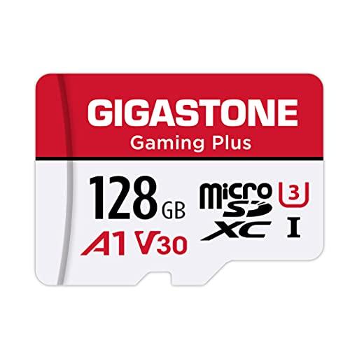 Gigastone Gaming Plus Micro SD Karte 128 GB + SD Adapter, Kompatibel mit Nintendo Switch SD Karte Lesegeschwindigkeit bis zu 100MB/s MicroSDXC Speicherkarte UHS-I A1 U3 V30 Klasse 10, 4K UHD Video