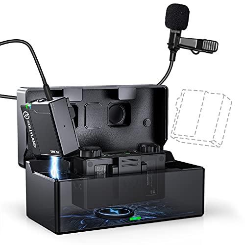 Hollyland Lark 150 Lavalier Funkmikrofon 2,4GHz Kabellos Ansteckmikrofon System, Wireless Microphone Mics bis zu 100m, Audioüberwachung 1 Transmitter 1 Empfänger für Kamera Smartphone DSLR Camcorder