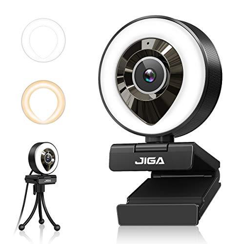 1080P Webcam mit Mikrofon, Full HD Facecam Live-Streaming Webcams mit Ringlicht, Stativ, 360° Schwenkradius JIGA, USB Kamera für PC, Videochat-Aufnahme, Mac, Laptop, Zoom, Skype (Weiß/Warmes Licht)