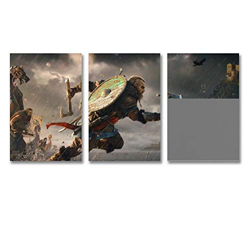 HUAIREN Assassins Creed Valhalla Game Poster, Leinwand, Wandkunst, ästhetische Raumdekoration, 30 x 45 cm, 3 Stück