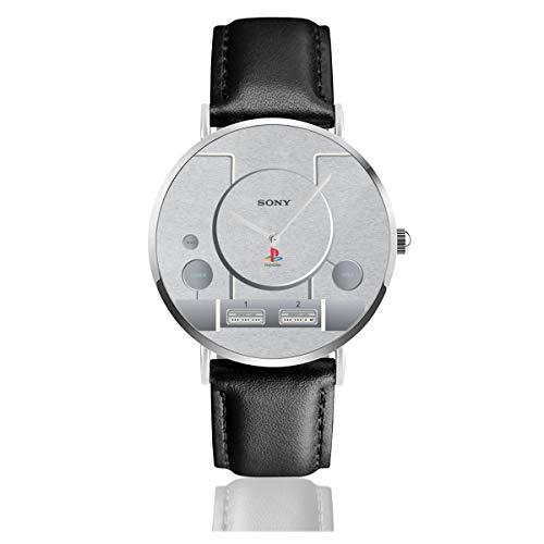 Unisex Business Casual Playstation Gaming Konsole Uhren Quarz Leder Uhr mit schwarzem Lederband für Männer Frauen Junge Kollektion Geschenk