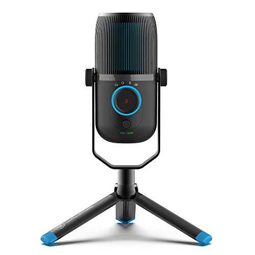 JLab Audio Talk USB Mikrofon PC Plug und Play mit USB-C, 4 Richtcharakteristiken, Lautstärkeregelung und Stummschaltung – Streaming Mikrofon Stativ, Podcast Mikrofon, Gaming Mikrofon