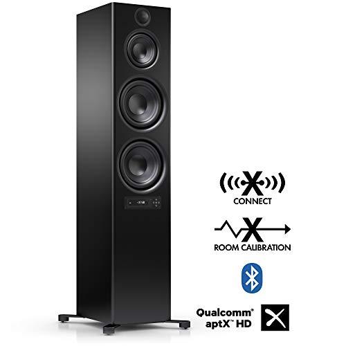 Nubert nuPro X-8000 RC Standlautsprecher | Bluetooth Lautsprecher aptX | Lautsprecher Verbindung kabellos High Res 192 kHz/24 bit | Aktivbox mit 3.5 Wege | High End Lautsprecher Schwarz | 1 Stück