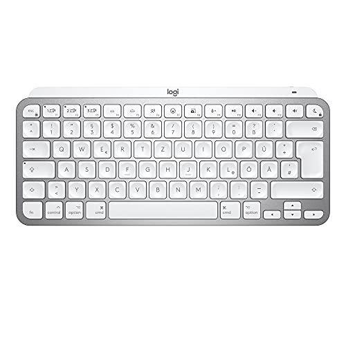 Logitech MX Keys Mini für Mac Kabellose Tastatur, Kompakt, Bluetooth, Hintergrundbeleuchtung, USB-C, Taktiles Tippen, Kompatibel mit Apple macOS, iPad OS, Metallgehäuse - Hellgrau