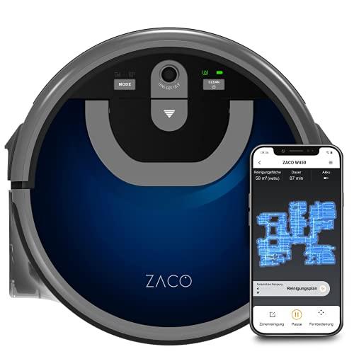 ZACO W450 Wischroboter mit extra Frisch- und Schmutzwassertank (Neuheit 2021), bis 80 Min. Nass wischen, Nass-Saugroboter für ca. 60 qm Fläche, Kamera Navigation, App & Alexa Steuerung, Midnight Blue