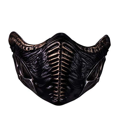Chiefstore Noob Saibot Maske Spiel MK 11 Cosplay Kostüm Harz Halbes Gesicht Helm für Erwachsene Herren Halloween Kleidung Zubehör