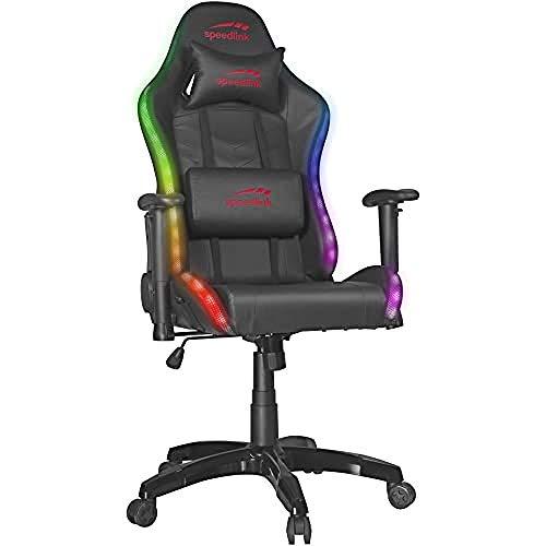 Speedlink ZAPHYRE Gaming Stuhl, 300 RGB-Effekte, Nacken-und Lendenwirbelkissen Schwarz, inkl. Powerbank, Kunstleder, 76 × 59-135 × 127-136cm