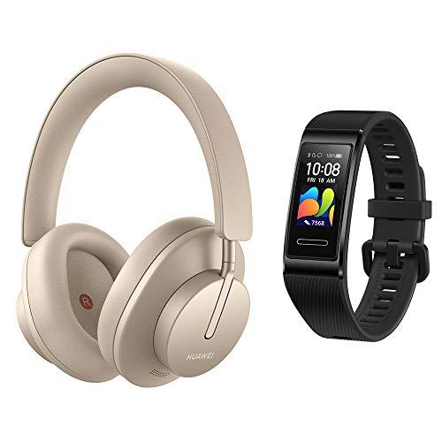 HUAWEI FreeBuds Studio, Kabellose Intelligent Dynamic Active Noise Cancellation Kopfhörer mit Bluetooth, Blush Gold + Band 4 Pro Fitness-Aktivitätstracker, schwarz
