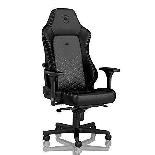 noblechairs Hero Gaming Stuhl - Bürostuhl - Schreibtischstuhl - PU-Kunstleder - Inklusive Kissen - Schwarz/Platinweiß
