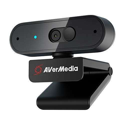 AVerMedia PW310P Webcam, Webcam Cover, 1080p / 30fps Video Chat und Aufnahme, Plug & Play, Mikrofone, Stream, Autofokus, Funktioniert mit Skype, Zoom, Team - Schwarz