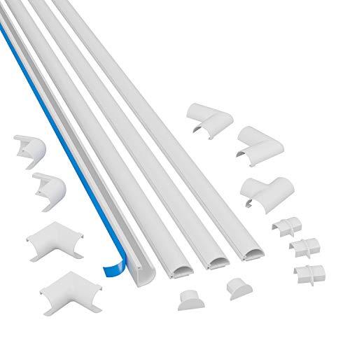 D-Line 2010KIT001 Selbstklebender, Runder Weißer Kabelkanal, 20x10 mm, 4 x 1 m Länge, 4 Stück