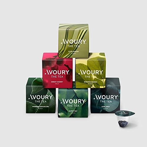 AVOURY Tee-Kapseln Discovery Set: 6 Teesorten zum Probieren, Schwarztee, Grüntee, Früchtetee & Kräutertee, 6 x 8 Kapseln
