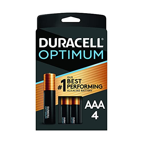 Duracell Optimum AAA Batteries   4 Count Pack   Lasting Power Triple A Battery   Alkaline AAA Battery Ideal for Household and Office Devices   Resealable Package for Storage
