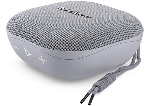 Sharp GX-BT60 (GR) Tragbarer Bluetooth-Lautsprecher, 20 Stunden Spielzeit /Staub-Spritzwassergeschützt/ Mikrofon für Telefonate, Google & Siri - Grau