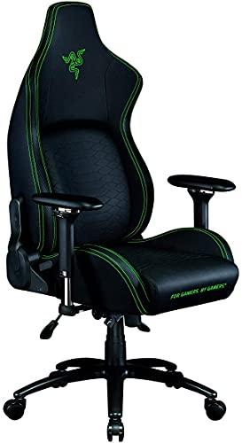 Razer Iskur - Premium Gaming Stuhl mit integrierter Lendenwirbelstütze (Schreibtischstuhl/Bürostuhl, mehrlagiges Kunstleder, Schaumstoff-Polster, Kopfpolster, Höhenverstellbar) Schwarz - Grün
