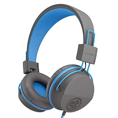 JLab Audio Kopfhörer Kinder, JBuddies Over Ear Kinder kopfhörer mit kabel, Kid Safe Lautstärkebegrenzung, Geräuschisolierung, Komfort Cloud Foam Ohrpolster und mit Mikrofon, Grau/Blau