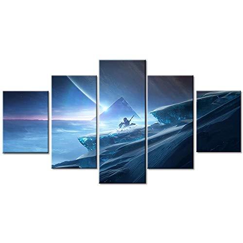 baixiangguo 5 Stück Destiny 2 Beyond Light Videospiel Poster Leinwand Kunst Wandbehang Gemälde Wandbild für Wohnzimmer & Spielzimmer Dekor-100 x 55 cm