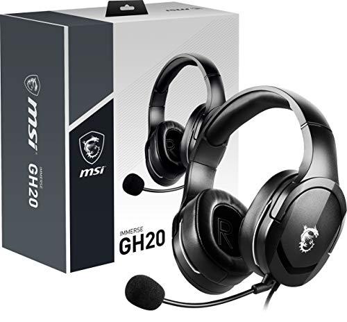 MSI Immerse GH20 (Gaming Headset, kabelgebunden, 40 mm Neodym Driver, 20 Hz - 20 Khz, 3,5 mm Klinkenstecker, schwarz, 245 Gramm, kein RGB)
