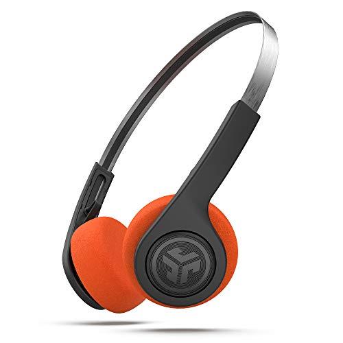 JLab Audio Rewind Wireless Retro Kopfhörer, Bluetooth Kopfhörer mit 12 Std Akkulaufzeit, Custom EQ3 Sound, On-Ear Kopfhörer mit Mikro und One-Touch-Musiksteuerung, Cooler Look aus 80er/90er, Schwarz