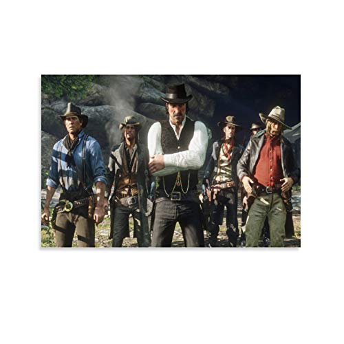 tongton Red Dead Redemption 2-Gang-Poster, dekoratives Gemälde, Leinwand, Wandkunst, Wohnzimmer, Poster, Schlafzimmer, Malerei, 30 x 45 cm