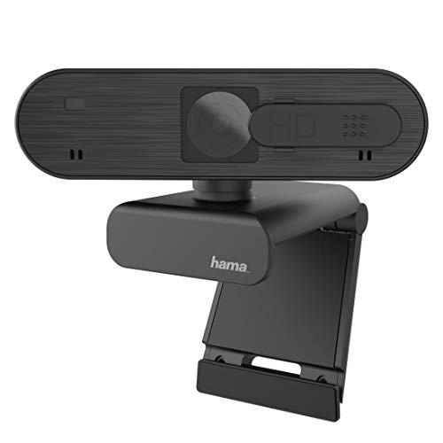 Hama Webcam 1080p Full HD mit Stereo Mikrofon (PC Webcam mit Autofokus und intelligenter Belichtung für Homeoffice und Gaming, 360 Grad schwenkbar, mit Kamera-Abdeckung, 1/4 Zoll Gewinde für Stative)