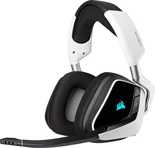 Corsair Void Elite RGB Wireless Gaming Headset (7.1 Surround Sound, Ultraniedrige Latenz, 12 Meter Reichweite, Omnidirektionales Mikrofon, iCUE RGB-Beleuchtung, für PC und PS4) weiss