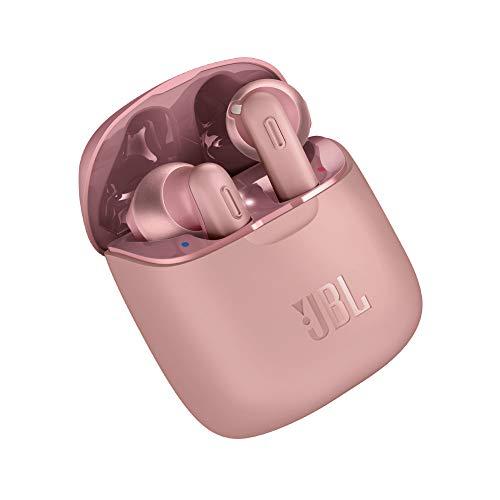 JBL Tune 220 TWS Lifestyle Bluetooth Kopfhörer in Pink – Kabellose Sport Ohrhörer für bis zu 3 Stunden Musikgenuss mit nur eine Akku-Ladung – Inkl. Ladecase
