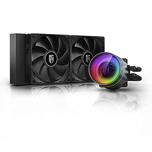 DEEPCOOL Castle 240EX, adressierbarer RGB AIO-Flüssig-CPU-Kühler, Anti-Leak-Technologie innen, Kabel-Controller und 5 V ADD RGB 3-polige Motherboard-Steuerung, TR4/AM4-Unterstützung, 3 Jahre Garantie