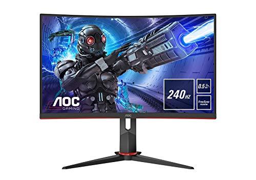 AOC Gaming C27G2ZU - 27 Zoll FHD Curved Monitor, 240 Hz, 0.5ms, FreeSync Premium (1920x1080, HDMI, DisplayPort, USB Hub) schwarz/rot