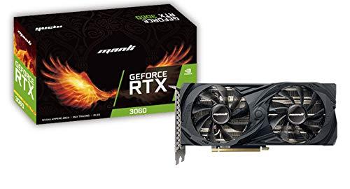 Grafikkarte PCI-EXPRESS MANLI GEFORCE RTX 3060 12 GB TWIN, 12 GB GDDR6-Speicher, 192bit-Schnittstelle, 3 x Display Port und 1 x HDMI.