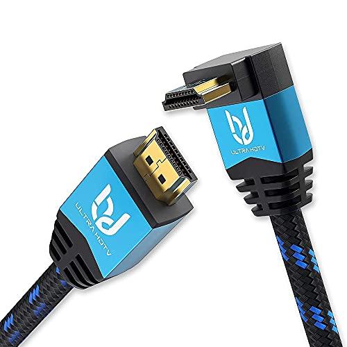 Ultra HDTV 4K HDMI Winkel-Kabel - kurzes 2 m High Speed HDMI 2.0b Kabel mit 1x 270 Grad Winkel - 4K@60Hz - Auflösung bis 4096x2160 - Knickschutz