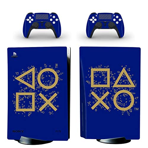 PS5 Disc Edition Playstation Days of Play Blue & Gold Logo Console Skin, Decal, Vinyl, Sticker, Faceplate - Console and 2 Controllers - Protective Cover New PlayStation 5 DISC