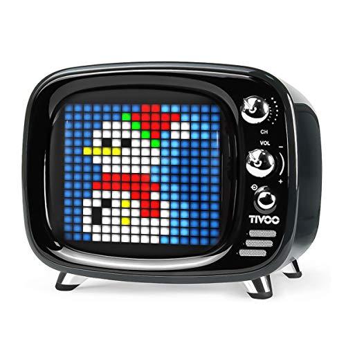 Divoom Tivoo Retro Bluetooth Lautsprecher - Pixel Art DIY Box, RGB programmierbar 16X16 LED, Unterstützung Android & iOS; TF/SD-Karte & AUX 3.9X3X3.2 Zoll (Schwarz)