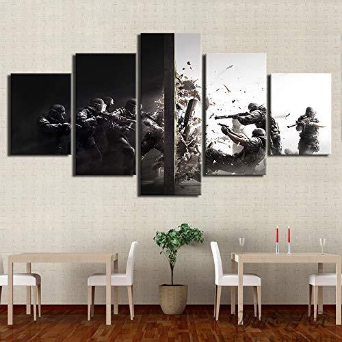 HIMFL Segeltuch HD-Druck Rainbow Six Siege Game Bilder Poster Zuhause Dekoration 5 Panel Wandmalerei Für die Moderne Wohnzimmer,B,30×50×2+30×70×2+30×80×1