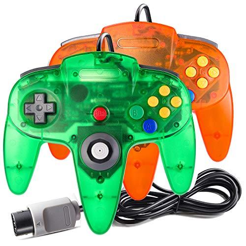 suily 2 Pack Game Controller Classic Joystick für N64 Konsolen N64 Spiele (Durchsichtig Grün/Orange)