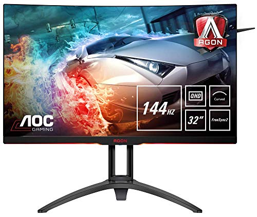 AOC AGON AG322QC4  80 cm (31,5 Zoll) Curved Monitor (HDMI, DisplayPort, USB Hub, Free-Sync 2, HDR 400, 4ms Reaktionszeit, 2560x1440, 144Hz) schwarz/rot