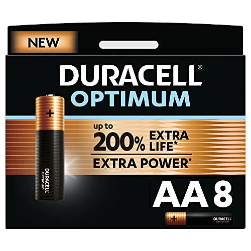 Duracell NEU Optimum AA Mignon Alkaline Batterien, 1.5V LR6 MX1500, 8er-Pack