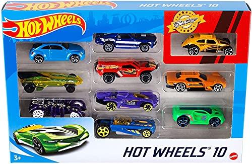 Hot Wheels 54886 1:64 Die-Cast Auto Geschenkset, je 10 Spielzeugautos, zufällige Auswahl, Spielzeug Autos ab 3 Jahren, 10er Pack, Mehrfarbig