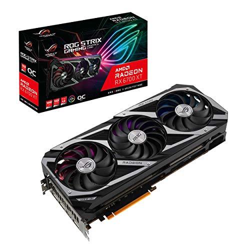 ASUS ROG Strix AMD Radeon RX 6700 XT OC Edition Gaming Grafikkarte AMD RDNA 2, PCIe 4.0, 12 GB GDDR6, HDMI 2.1, DisplayPort 1.4a, Axial-tech Lüfterdesign, 2.9-Slot, Super Alloy Power II, GPU Tweak II