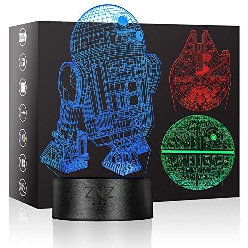 3D Lampe, ZNZ LED Illusion Led Nachtlicht, 16 Farbwechsel 3 Modell mit Remote & Smart Touch Lampe Weihnachts Geschenke für Kinder Männer Frauen (Star Wars)