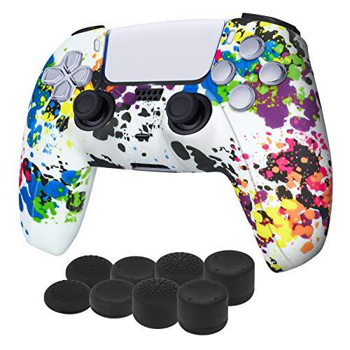 Newseego PS5 Controller-Schutzhülle,Graffiti Splashing Skin Case-Hülle,Silicon Soft Case Skin Shell Anti-Rutsch-Schutzhülle mit FPS PRO Daumengriffen x 8 für Playstation 5 Wireless Controller,White A