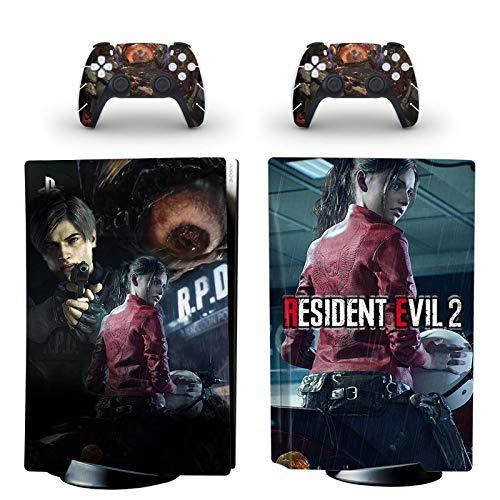 PS5SkinFaceplatesSchutz für Resident Evil Dieser PVCAufkleber dient zum Schutz der Oberflächen der Playstation 5Festplattenkonsole und 2Controller