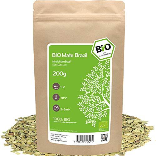 amapodo - Mate Tee Bio 200g - grüne Yerba Mate Blätter - Matetee - Koffeinhaltiger grüner Tee - Mateblätter - Wachmacher - Vegane Geschenke für Frauen & Männer