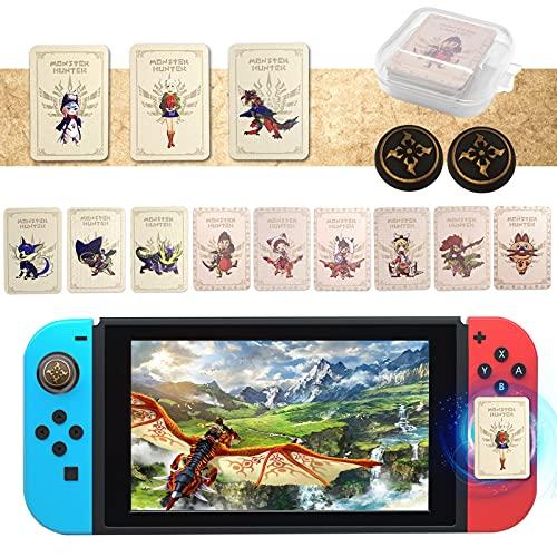 12PCS Monster Hunter Stories 2 Amiibo Karten mit 2PCS Joystick Kappen, MH Stories 2: Wings of Ruin Amiibo Karten Inklusive ENA /Razewing Ratha /Tsukino, NFC Amiibo für Switch/Switch Lite/Wii U/New 3DS