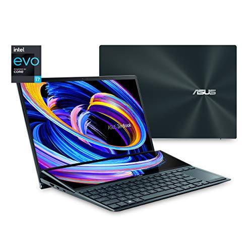 ASUS ZenBook Duo 14 UX482 14 Zoll FHD NanoEdge Touch Display, Intel Evo Plattform, Core i7-1165G7, 8GB RAM, 512GB PCIe SSD, innovatives ScreenPad Plus, Windows 10 Home, Celestial Blue, UX482EA-DS71T