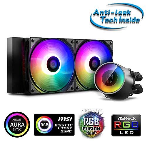 DeepCool Castle 240 RGB V2 Anti-Leak Kühlsystem 240 mm RGB Rainbow Addressable 5 V ADD RGB 3-Pin kompatibel Intel 115X/2066 und AMD TR4/AM4